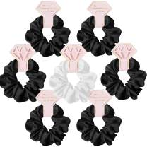 STARAMZ Bridesmaid Proposal Gifts Hair Ties Hair Scrunchies Bachelorette Party Favors Satin Bridesmaid Gift for Wedding Parties (7pc,Black & White)