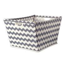 """DII Collapsible Polyester Trapezoid Storage Basket, Home Organizational Solution for Office, Bedroom, Closet, & Toys (X-Large - 22x15x13"""") Gray Chevron"""