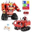 Mould King 2 in 1 Building Block Robot Fire Truck Toy with Remote Control Robot Engineering Science Education Mathematics Toy Kit Robot Set Gift for 6 7 8 9 10 11 12 Years Old Boys Girls (527 Pieces)