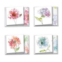 Basic Blooms - 12 Pack of Sympathy Cards with Envelopes (4 x 5.12 Inch) - Pretty Boxed Floral Bereavement Note Card Set - Assorted Watercolor Flowers (3 Cards Each, 4 Designs) AMQ4627SMG-B3x4