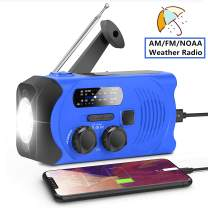 Emergency Radio, ROYAL WIND Weather Radios with Solar Hand Crank Portable for Household and Outdoor with AM/FM NOAA Self Powered LED Flashlight 2000mAh Power Bank USB Charger and SOS Alarm