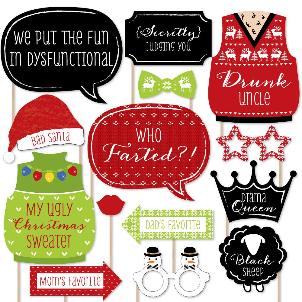 Big Dot of Happiness Christmas Family Reunion - Fun Family Theme Holiday Party Photo Booth Props Kit - 20 Count