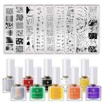 BORN PRETTY Nail Art Stamping Tool Kit 8Pcs Image Stamp Plate with 10 Bottles 6ml Classic Stamping Polish DIY Nail Art Design