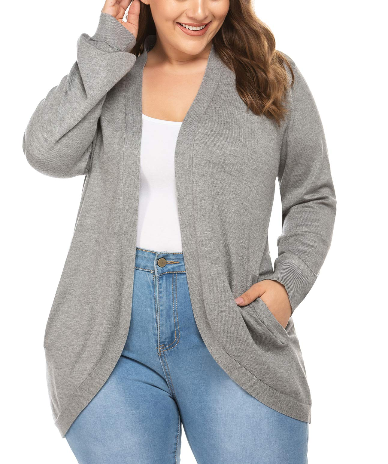 Gemijack Womens Plus Size Cardigan Sweaters Open Front Colorblock Long Sleeve Knitted Outwears XL-5XL