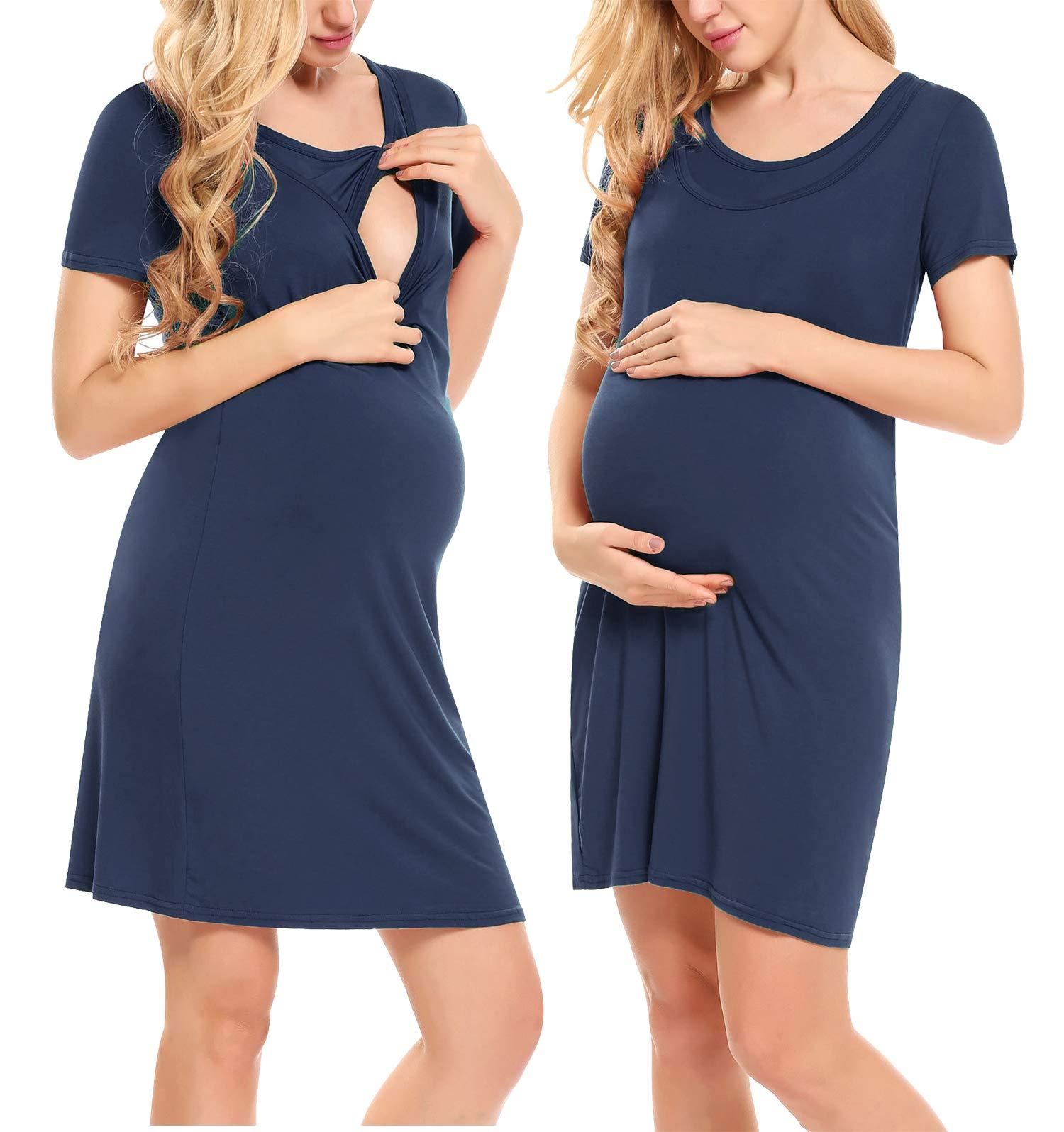 Hotouch Women's Nursing Nightgown for Breastfeeding Short Sleeve Hospital Gown Dress Sleepwear S-XXL