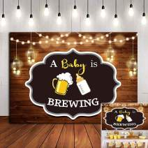 A Baby is Brewing Themed Photography Backdrop for Baby Shower Party Banner Decorations Vinyl Beer Bottle Rustic Wood Glitter Photo Background 5x3ft Photo Booth Studio Props Cake Table Supplies
