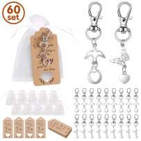 Minterest 60pack Baby Shower Party Favors, Wedding Decorations Favors Souvenir Keychain Gift Set, Antique Butterfly Pigeon Key Chain + Kraft Thank You Tag + Drawstring Candy Bag Pouch for Guests