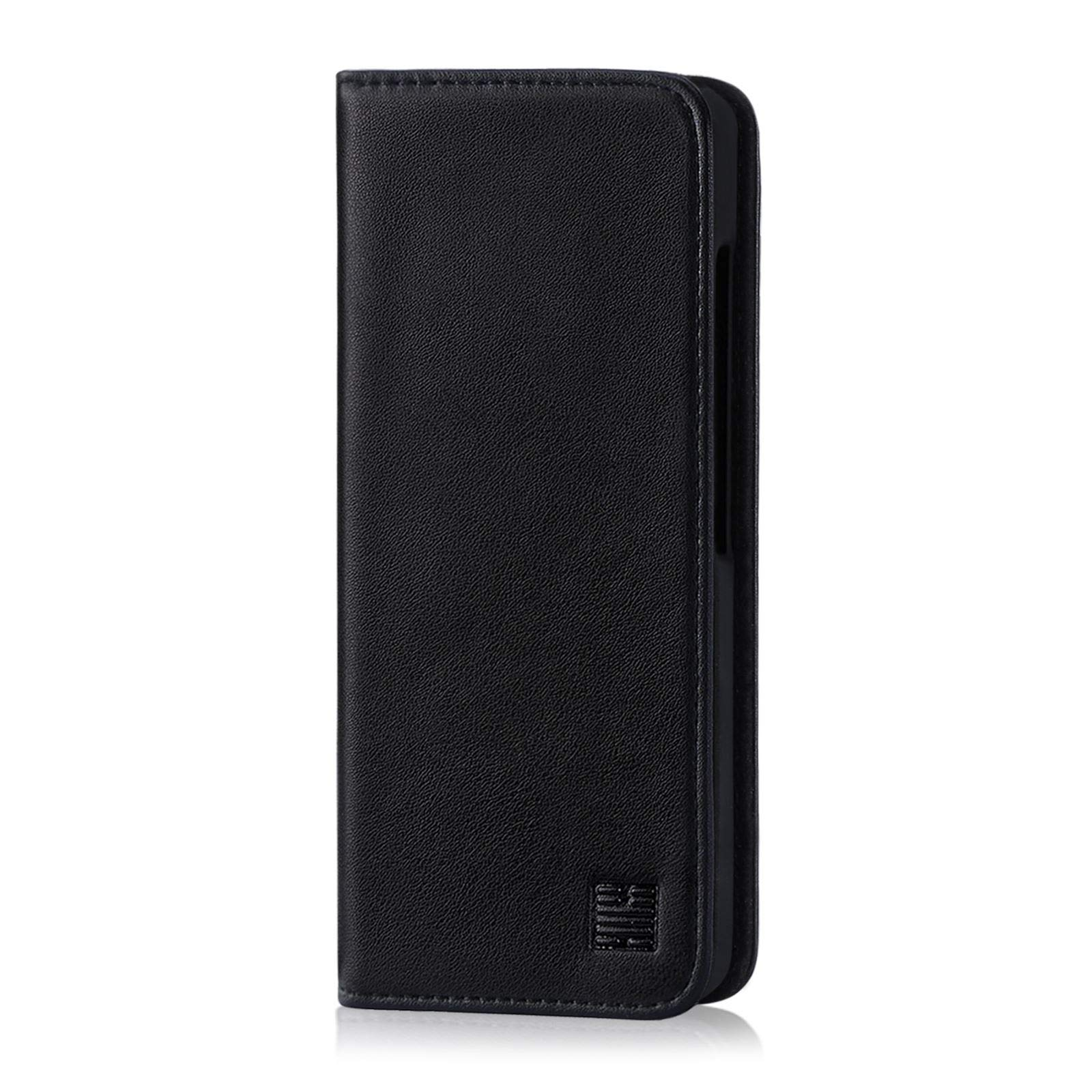 32nd Classic Series - Real Leather Book Wallet Case Cover for Google Pixel 3, Real Leather Design with Card Slot, Magnetic Closure and Built in Stand - Black