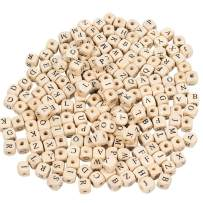 PH PandaHall 1060pcs 10mm Alphabet Wooden Beads Natural Color Square Wooden Beads Wooden Loose Beads with Initial Letter for Jeweley Making and DIY Crafts