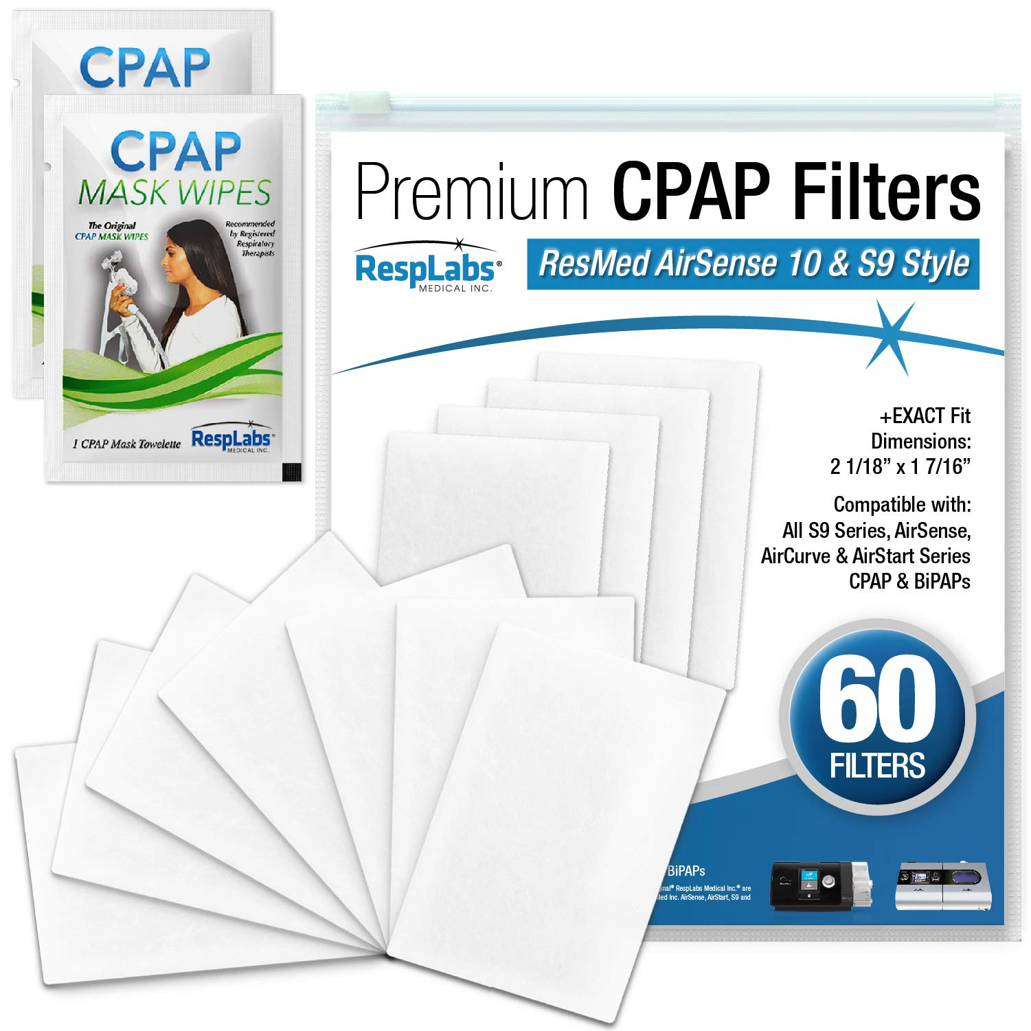 RespLabs CPAP Filters, 60 Pack for ResMed AirSense 10 & S9. Includes Replacement Filter Kit + 2 Travel Cleaning Wipes