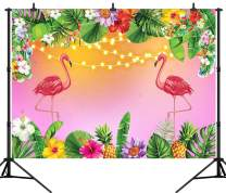 DePhoto 7X5FT TTropical Flamingo Pink Backdrop Party Banner Summer Adult Kids Birthday Baby Shower Seamless Vinyl Photography Photo Background Studio Prop PGT392A