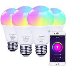 Smart Light Bulbs, LangPlus+ LED RGBCW Color Changing Lights, Compatible with Alexa Google Home and Echo, Dimmable A19 E26 WiFi Light Bulbs, 2.4GHz Only, No Hub Required, 7W (60w Equivalent), 4 Pack