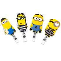 Finex 4 Pcs Set The Minions Badge ID Clip Reel Retractable Holder Office Work Nurse Name Badge Tag Clip On Card Holders Cute - 30 inch Cord Extension