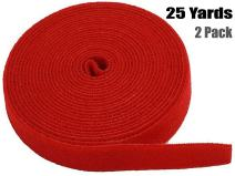 iMBAPrice Red Cable Fastening Tape - (Pack of 2) 0.75 inch One Wrap Hook & Loop (75 feet) 25 Yards Long
