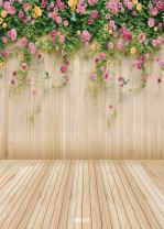 WOLADA 5x7ft Spring Flower Backdrop Wood Backdrops for Photography Photographer Photo Video Background Studio Thin Vinyl Props 8909