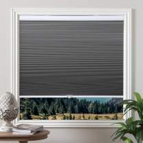 Blackout Shades Cordless Blinds Cellular Fabric Blinds Honeycomb Door Window Shades Grey-White, 34x36 inch