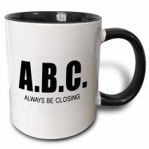 3dRose 223176_4 Abc Always Be Closing Mug, 11 oz, Black