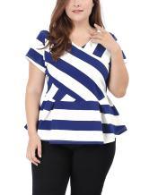 uxcell Women's Plus Size Striped Tops Short Sleeve V-Neck Peplum Top