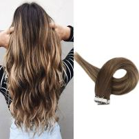 Full Shine Tape Hair Brown Remy Human Hair 18 Inch Pu Tape Hair Extensions Color 3 Fading To 24 And 3 Real Human Hair 50 Grams Soft Hair Balayage Hair Extensions For Women