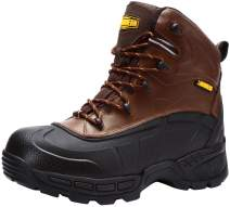 LARNMERN Men's Work Boots, Waterproof Steel Toe Cap Safety Leather Shoes