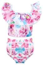 Newborn Baby Girls Swimsuit Ruffle Collar Floral Swimsuit Two Piece Bikini Sunsuit UPF 50+ UV