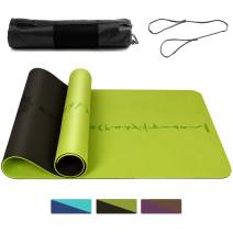 """DAWAY Eco Friendly TPE Yoga Mat Y8 Wide Thick Workout Exercise Mat, Non Slip Grip Pilates Mats, Body Alignment System, Tear Resistant, with Carrying Strap, 72""""x 26"""" Thickness 6mm"""