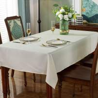 """Jacquard Tablecloth Spot Design Anti-Shrink Waterproof Wrinkle Resistance Soft Table Cloth Decorative Fabric Table Cover for Outdoor and Indoor Use(Rectangle/Oblong,60"""" x 120""""(10-12 Seats),Beige)"""