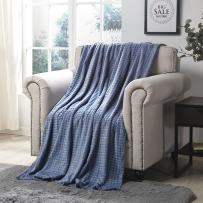 """Simple&Opulence Luxury Lightweight Navy Blue Super Soft Cozy Throw Blanket with StereoscopicGrid Design (Navy Blue, 50"""" x 70"""")"""