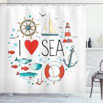 """Ambesonne Nautical Shower Curtain, I Love Sea Words with Heart Sea Materials Anchor Compass Knotted Rope, Cloth Fabric Bathroom Decor Set with Hooks, 84"""" Long Extra, Blue White"""