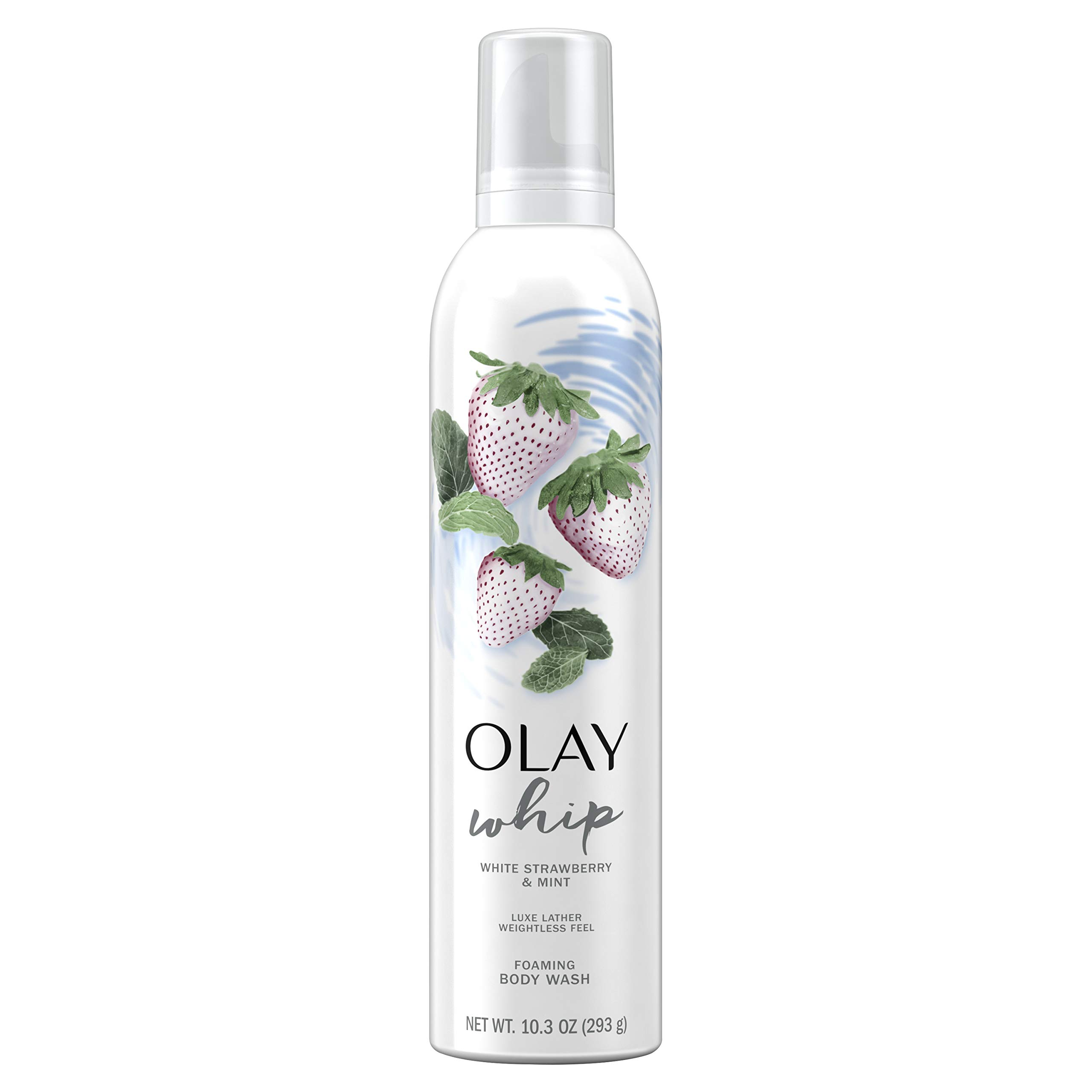 Olay White Strawberry and Mint Scent Foaming Whip Body Wash for Women, 10.3 oz