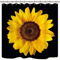 Riyidecor Sunflower Shower Curtain Blossom Black and Yellow Photo Print Plant Floral Flower Cool Botany Art Nature Fabric Waterproof Home Bathtub Decor 12 Pack Plastic Hooks 72x72 Inch