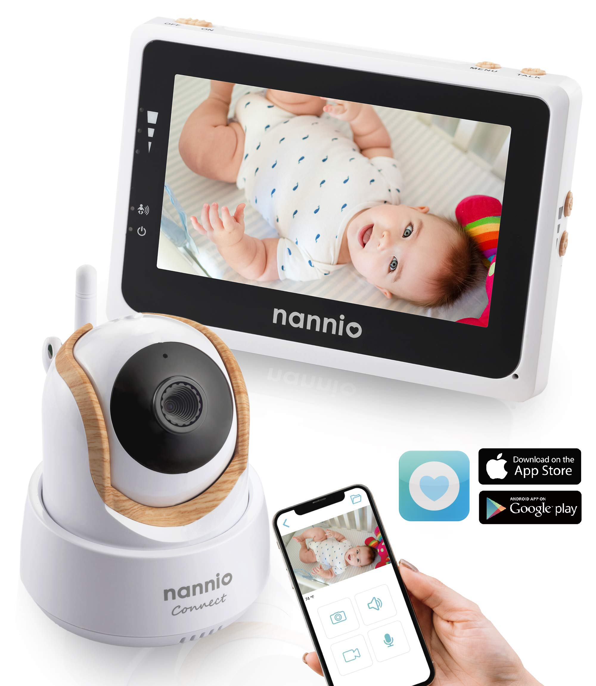 Nannio Connect Video Baby Monitor with Mobile APP 4.3 inch Touch Screen Parent Unit and HD Pan-Tilt-Zoom Camera, Available for iOS and Android,Outstanding Night Vision,VOX and Temperature Alert …