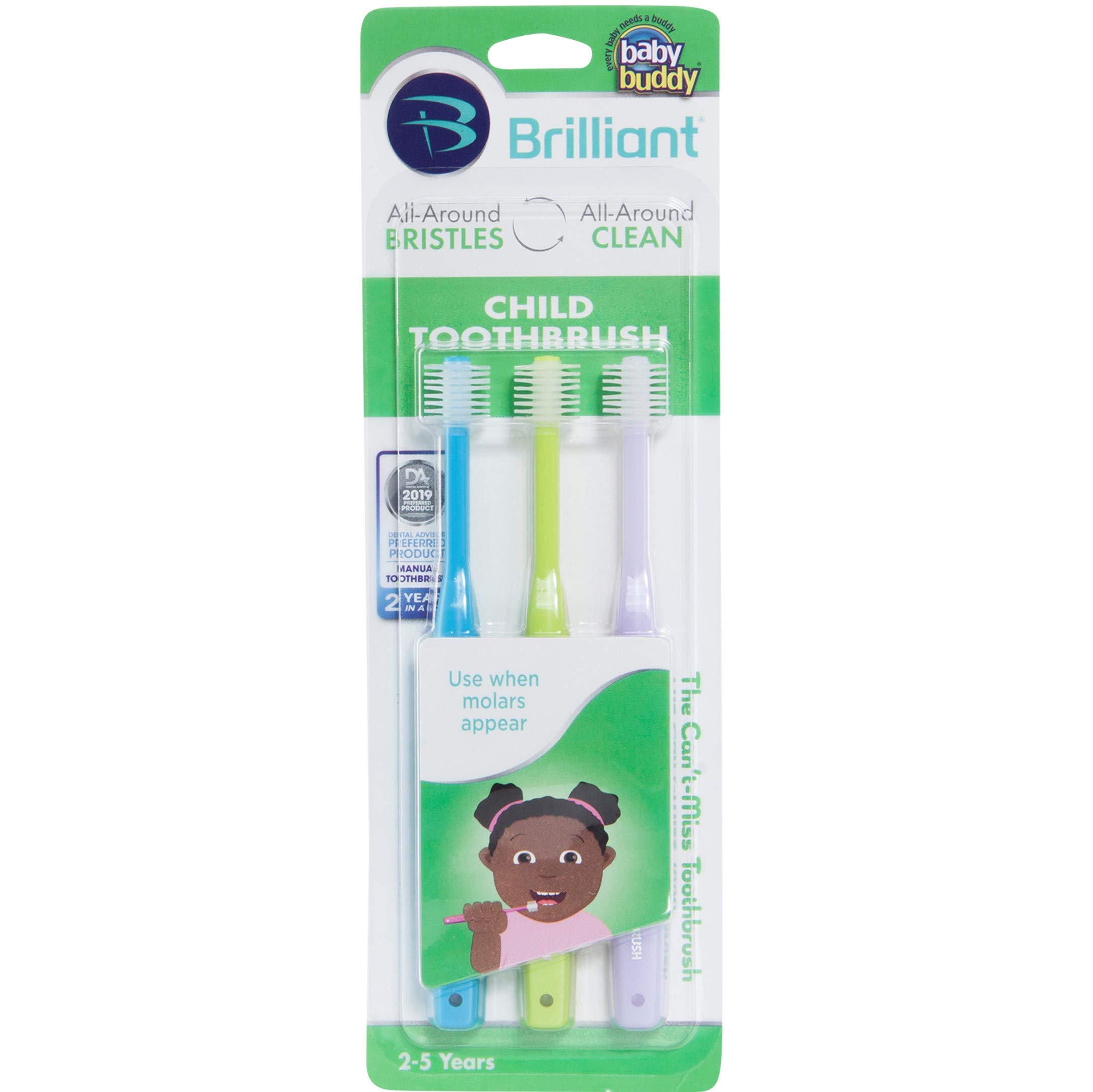 Brilliant Child Toothbrush by Baby Buddy - Ages 2-5 Years, When Molars Appear, BPA Free Super-Fine Micro Bristles Clean All-Around Mouth, Kids Love Them, 3 Count, Sky Blue-Lime-Lilac