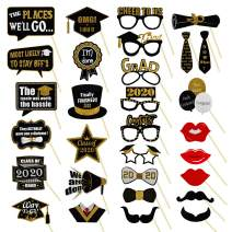 Graduation Photo Booth Props 30Pieces, Graduation Party Supplies and 2020 Grad Decor with Sticks for Kids Boy Girl, Black and Gold (Navy Blue)