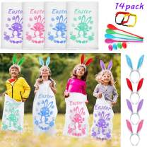 FunsLane 4 Potato Sack Race Bags with 4 Bunny Ears Headbands, 4 Egg and Spoon Race Games, 2 Three-legged Race Bands, Outside Easter Eggs Hunt Game Party Favor, Outdoor Games for All Ages Kids and Family-14 Pcs