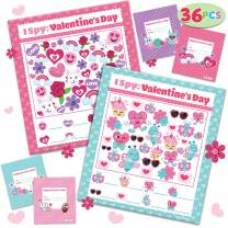 JOYIN 36 Pack Valentines Day Gift Cards of I Spy Game for Valentine Classroom Exchange Party Favors Toys