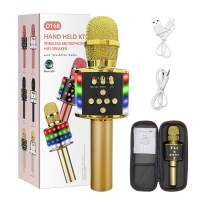 MIRIO 6 in 1 Wireless Bluetooth Karaoke Microphone with Multi-Color LED Lights, Portable Handheld Mic & Speaker for Christmas, Birthdays, Home Parties, Adjustable Radio Recorder