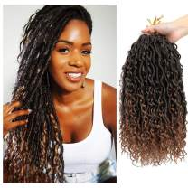 6 Packs Goddess New Locs Crochet Hair, 14 Inch Boho Hippie Locs, Crochet Braids Hair for Black Women, with More Small curls, Faux Bohemia Locs (14 Inch, 6Packs, T1B/30)