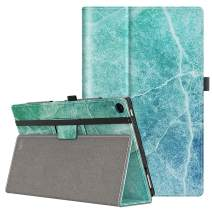 VORI Case for All-New Amazon Fire HD 10 Tablet (9th/7th/5th Generation,2019/2017/2015 Release), Folio Folding Smart Stand Cover with Hand Strap and Auto Wake/Sleep for Fire HD 10.1 Inch, Marble
