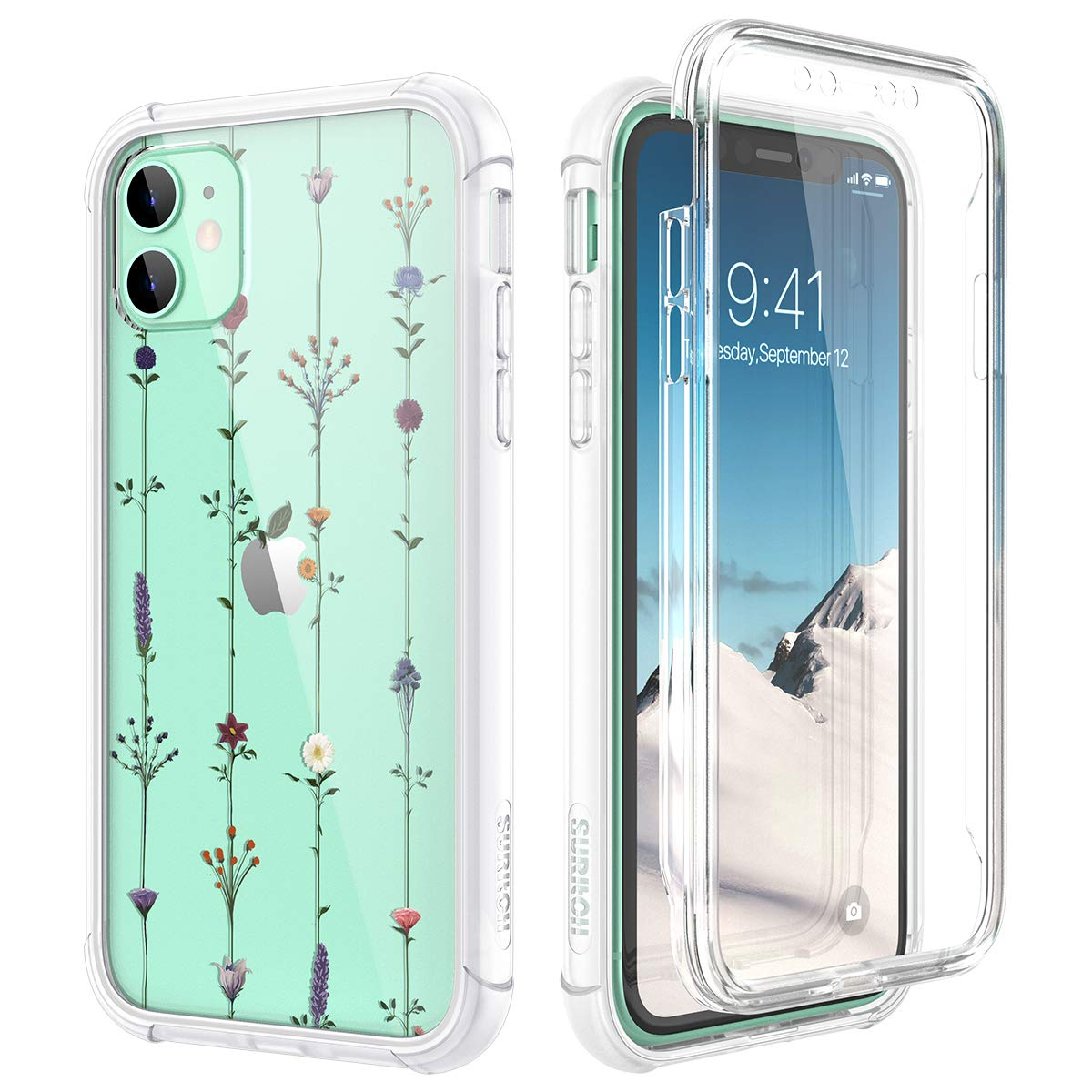"""SURITCH Clear Case for iPhone 11, [Built-in Screen Protector] Shockproof Full Body Protection Rugged Bumper Rubber Transparent with Floral Pattern Protective Case for iPhone 11 6.1""""(Tree Vine Flower)"""