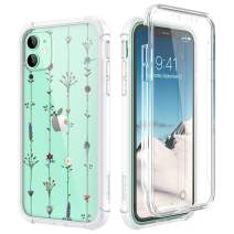 "SURITCH Clear Case for iPhone 11, [Built-in Screen Protector] Shockproof Full Body Protection Rugged Bumper Rubber Transparent with Floral Pattern Protective Case for iPhone 11 6.1""(Tree Vine Flower)"