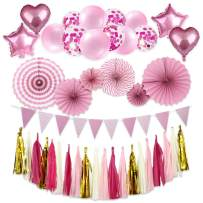 Party Decoration Kit, 50 pcs Include Paper Fans Tissue Paper Tassel Triangle Bunting Flags Balloon Pink and Gold Party Supplies for Birthday Wedding Baby Shower Wall Decorations