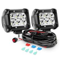 Nilight ZH009 LED Light Bar 2PCS 18W Spot Off Road Lights with 16AWG Wiring Harness Kit-2 Lead, 2 Years Warranty.