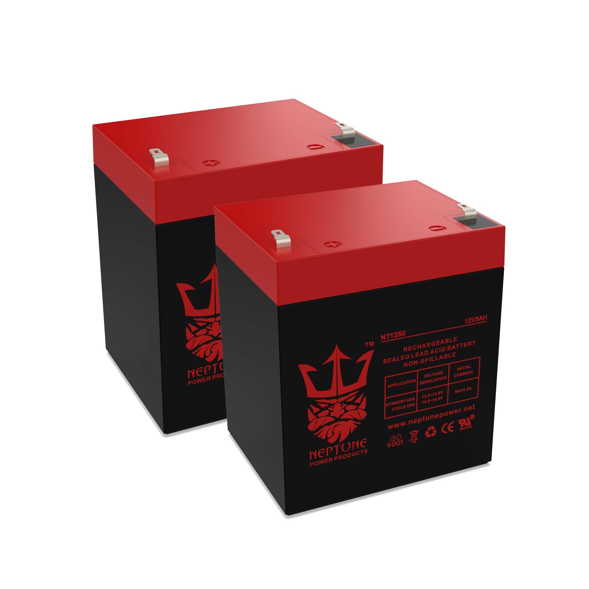 Neptune 12V 5Ah NT-1250 Rechargeable SLA Sealed Lead Acid Battery - 2 Pack