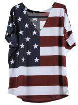 OMONSIM America Flag Pattern V-Neck Short Sleeve T-Shirt