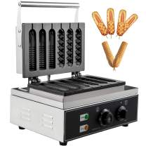 VBENLEM 110V Commercial Lolly Waffle Makers 6 Grid Nonstick 1550W Electric French Muffin Machine Temperature 50-300 ℃ Timer 0-5 min Stainless Steel Sausage Crispy Machine Hot Dog Corn Waffle Maker