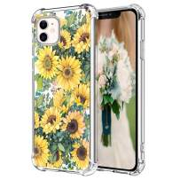 Hepix iPhone 11 Case Clear with Sunflowers iPhone 11 Phone Cases, Yellow Floral Pattern Phone Cover for Girls Women, Soft Flexible TPU Frame with Protective Bumpers Anti-Scratch Shock Absorbing