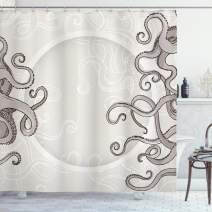 """Ambesonne Kraken Shower Curtain, Fish Octopus Tentacles with a Circular Shape Surreal Universe Treasure Beast Graphic, Cloth Fabric Bathroom Decor Set with Hooks, 84"""" Long Extra, Dust Taupe"""