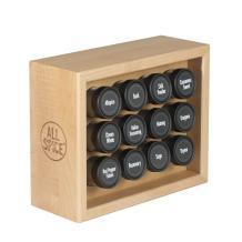 AllSpice Wood Spice Rack, Includes 12 4oz Jars- Maple