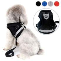Zunea Small Dog Harness Leash Set No Pull Reflective Adjustable Step-in Soft Mesh Padded Puppy Vest Harness Leads, Cat Harness Escape Proof for Walking, for Girl Boy Pet Dogs Kittens